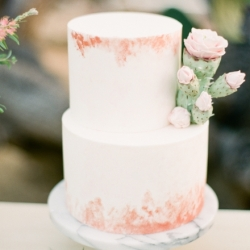 Rose gold cake with sugar cactus flower