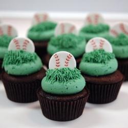 Custom Fondant Baseball Cupcakes