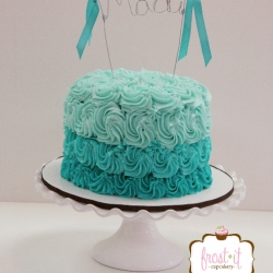 Turquoise Ombre Buttercream cake