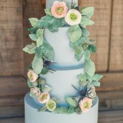 Blue Fondant Wedding Cake with Sugar Flowers