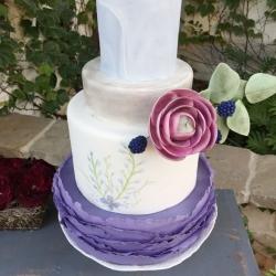 Fondant wedding cake with sugar flower