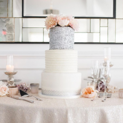 Fondant and silver edible sequins wedding cake